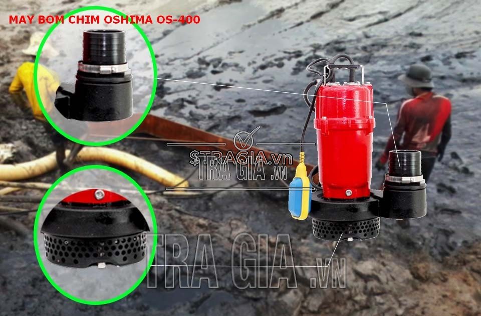 Chi tiết máy bơm nước oshima OS400 trong việc hút nước thải