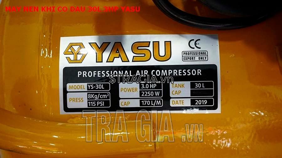 Thông số máy nén khí có dầu 30L-3HP-Yasu.
