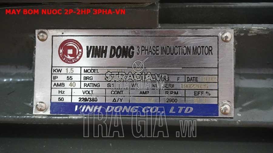 Thông số kỹ thuật của máy bơm nước 2P-2HP-3pha-VN
