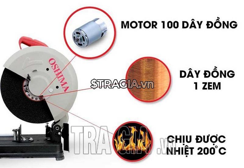Động cơ máy cắt sắt oshima hoạt động mạnh mẽ giúp máy làm việc luôn hiệu quả