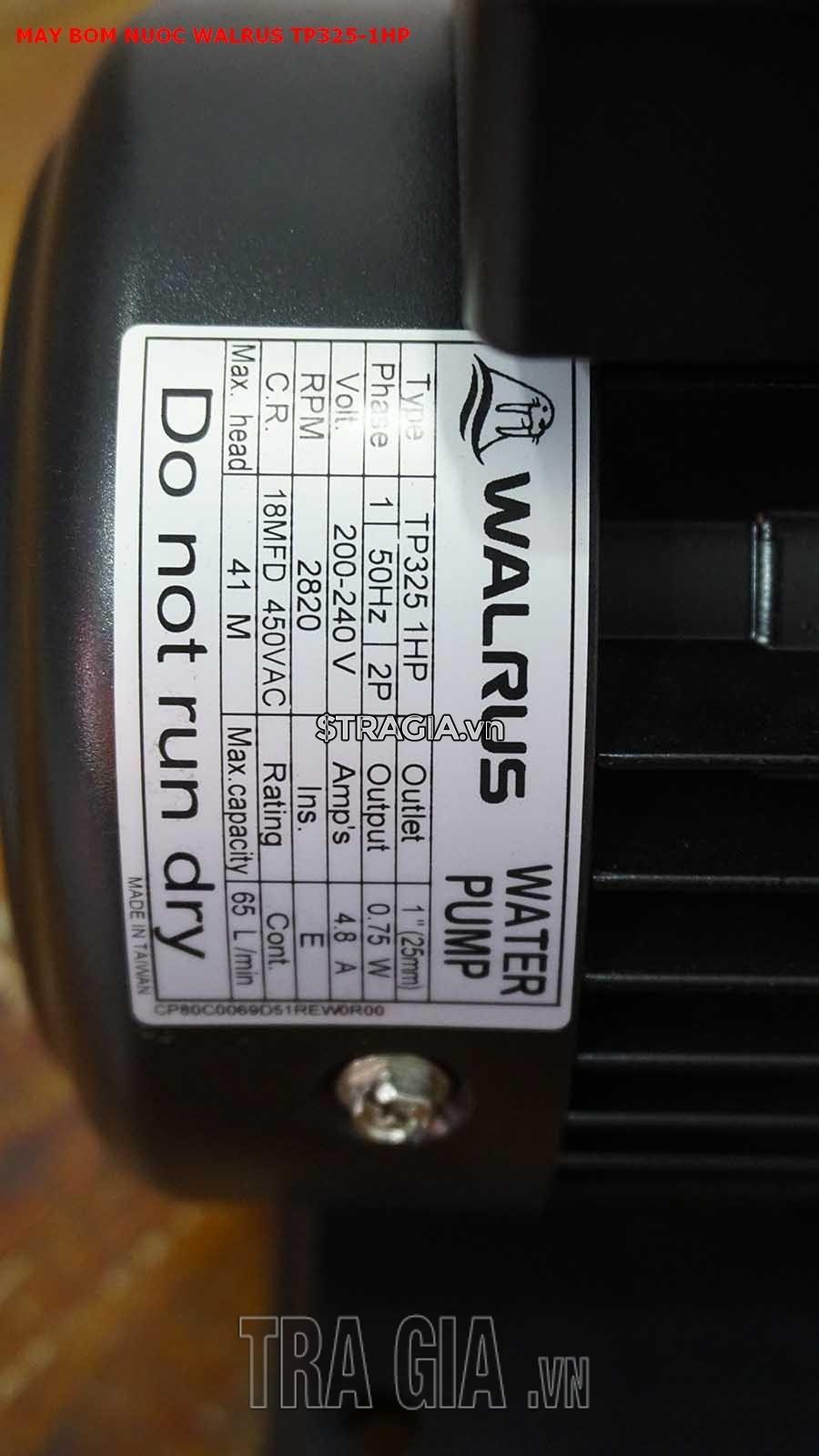 Thông số kỹ thuật của máy bơm nước Walrus TP325-1HP