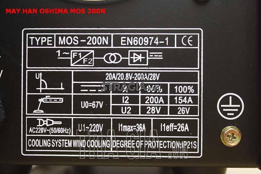 Thông số kỹ thuật của máy hàn que MOS-200N