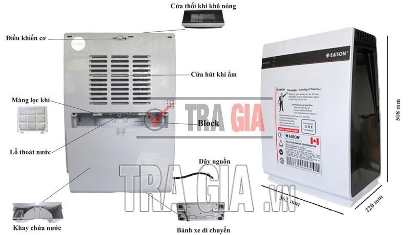 Chi tiết máy hút ẩm Edison ED-16B